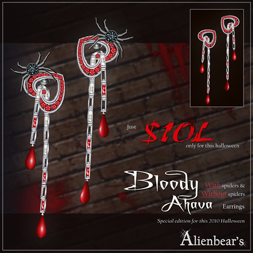Bloody Ahava earrings halloween special