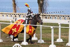 Charge! (Bill'sLIPhotos) Tags: horse ny newyork festival lady canon eos rebel li action medieval longisland september armor knight elgin joust jousting 2010 xsi gwineth sandspoint medievalfestival 450d 55250 canon450d efs55250 canonxsi