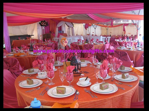 Hot Pink Satin Orange Crush Linens Ceiling Swags Satin Chair Wraps in