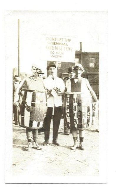 blackandwhite bw men college halloween vintage advertising found photo costume soap paint barrel protest hats fraternity vernacular fancydress chemical keds golddusttwins