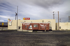 Birthplace for the Voyager (susan catherine) Tags: california parkinglot 4 roadtrip mojave rca carlsjr newuseforatraincar mojavechamberofcommerce gardnervideo