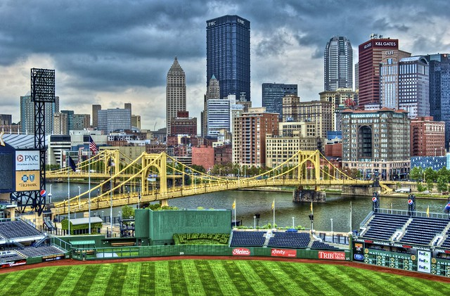 Pittsburgh skyline from pressbox of PNC Park