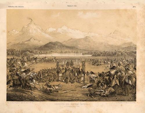 003-Entierro del cacique Cathiji en 1835-Atlas de la historia física y política de Chile-1854-Claudio Gay