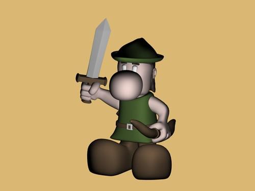 Narizón arquero con espada, ahora con piernas