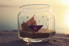 My little sailing boat (Reem eng) Tags: sun reflection beach stars golden boat sailing handmade jar goldenhour paperboat