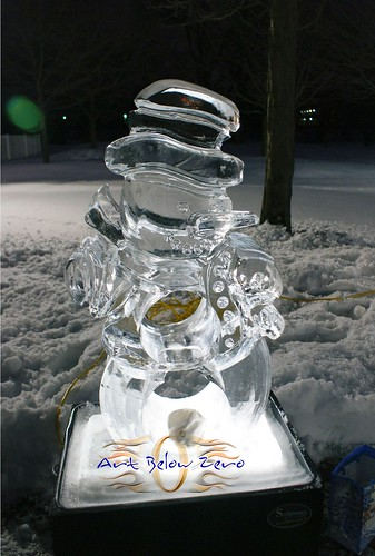 Snowman Bean Bag Toss Game ice sculpture