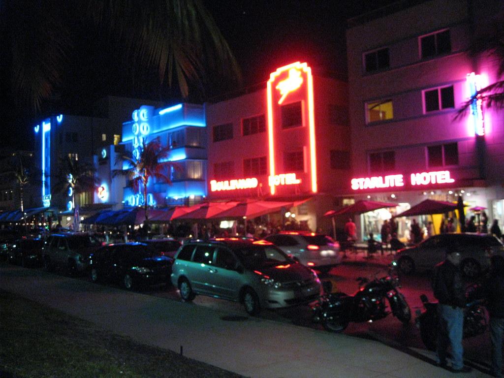 Ocean Drive South Beach Miami Art Deco Hotels at Night
