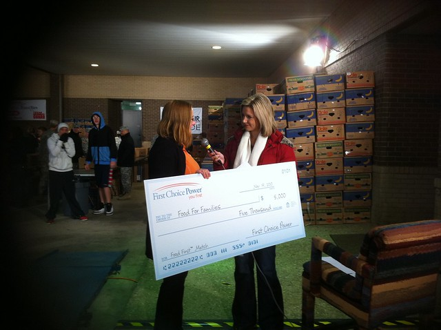 We presented $5,000 - or 12,500 pounds of food - to Caritas of Waco during the morning newscast on Channel 10 -
