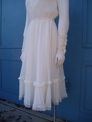 Victorian Inspired White Lace & Ruffled Dress Skirting Front Left (mondas66) Tags: ruffles dress lace victorian dresses romantic elegant ornate lacy sheer frilly elegance ruffle frills frill ruffled lacework frilled frilling frillings befrilled