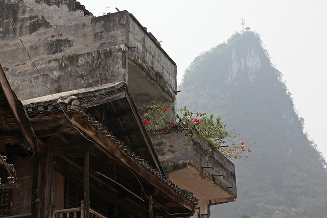 Old house and Karst mountain in Xingping, Guangxi, China