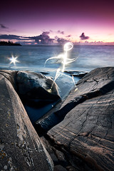 Flash Gordon (finprkl) Tags: ocean longexposure sunset sea sky water weather clouds canon suomi finland rocks rocky sigma wideangle gradient flashlight waterscape sigma1020mm porkkala porkkalanniemi
