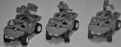 Halo Reach Warthog Variants (Vengeance of Lego) Tags: 2 3 1 gun lego 5 c 4 machine halo drop troopers e orbital shock rocket reach combat turret machinegun ce evolved gauss odst