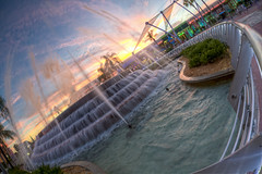 Inside the Fountain (Todd Hurley (Todd_H)) Tags: sunset vacation moon water fountain fun orlando epcot florida ambientlight center fisheye waltdisneyworld themepark futureworld lakebuenavista baylake photomatix fountainofnations sigma15mmf28exdg canon5dmark2 thhphotography photoshopcs5