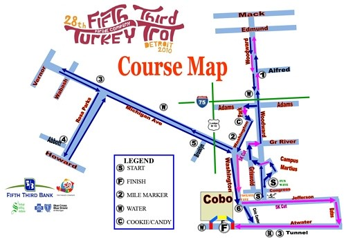 2010 detroit turkey trot course map