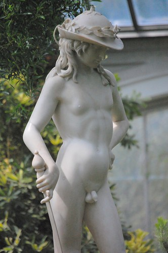 Donatello's David - white replica at the Temperate House, Royal Botanic Gardens, Kew, Surrey, May 2010 - front right, knees upward