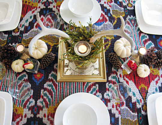 antlers centerpiece for thanksgiving table on ikat