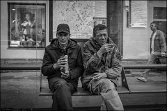 DR150904_0945D (dmitryzhkov) Tags: stop rogue eat drink busstop sit seat sitting two couple window pedestrian one sony alpha black blackandwhite bw monochrome white bnw blacknwhite bnwstreet day daylight art city europe russia moscow documentary journalism street streets urban candid life streetlife citylife outdoor outdoors streetscene close scene streetshot image streetphotography candidphotography streetphoto candidphotos streetphotos moment light shadow people citizen resident inhabitant person portrait streetportrait candidportrait unposed public face faces eyes look motion movement walk walker walkers pedestrians sidewalk