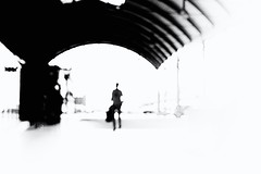 Formalist journey (newshot.) Tags: nikon d700 zeiss planart1450 zf2 general newcastle central station graphic impression abstraction blacks composition arch curves traveller albertogiacometti artinbw highcontrast watercolour brushstrokes grain oof defocussed figure ribs white space giacometti wireframe shapes
