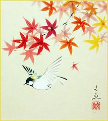 Great tit (Japanese Flower and Bird Art) Tags: bird great tit parus major paridae bungyo nakatani nihonga shikishi japan japanese art readercollection