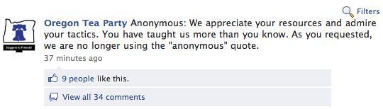 Oregon Tea Party Facebook 2