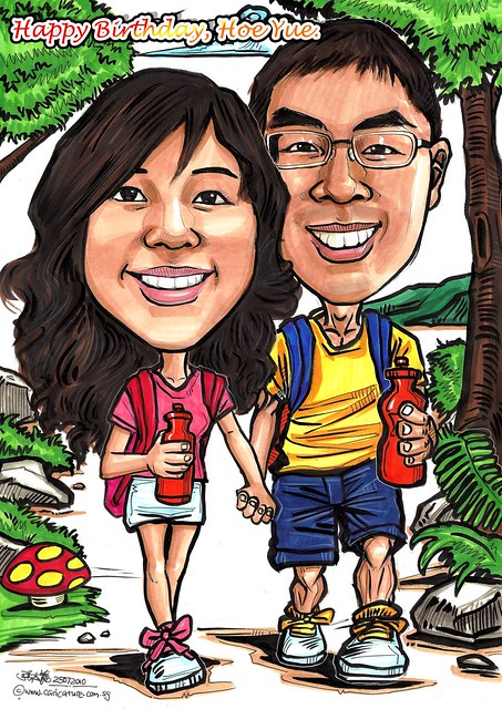 couple caricatures - nature walk A3