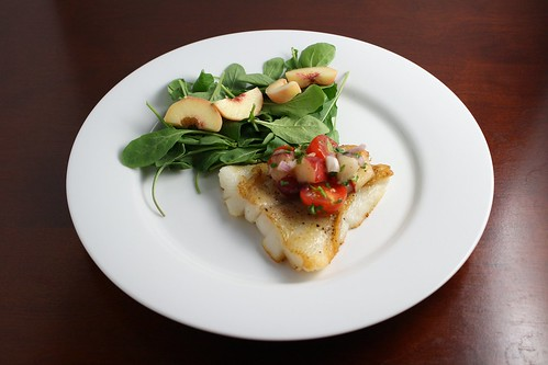 Halibut with Tomato Nectarine Salsa