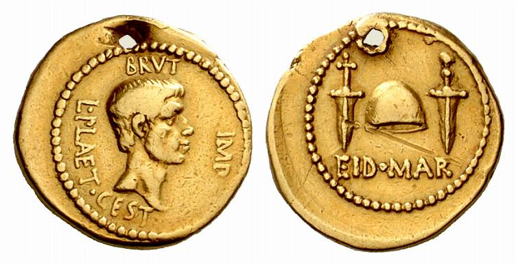 An Exceedingly Rare and Highly Important Roman Imperatorial Gold Aureus of M. Junius Brutus with L. Plaetorius Caestianus, One of Two Known Gold Aureii of the Famous EID MAR Type