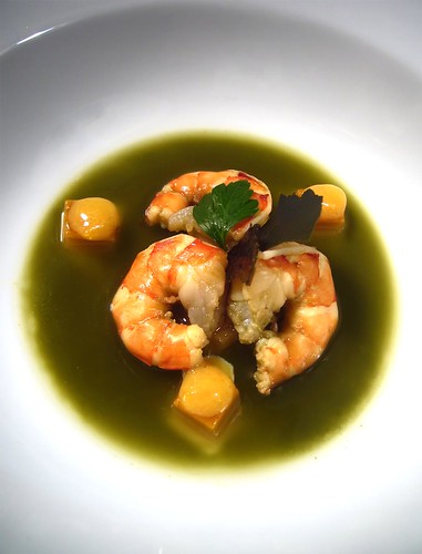 Matcha poached prawns with light bisque cubes, citrus emulsion
