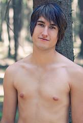 Luk (David Fallen) Tags: trees boy shirtless portrait man forest naked