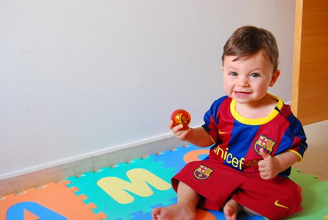 Teo amb la samarreta del Barça
