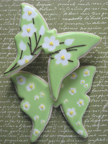 Green and White Flower Butterfly Cookies