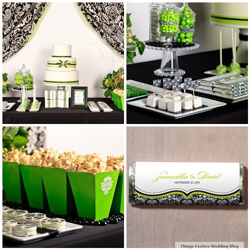 Black and White Wedding Candy Buffet with Apple Green