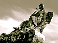 In Between (Daria Angeli) Tags: new sky bw statue america orleans louisiana blackdiamond lafayettecemetery otw flickraward flickrestrellas