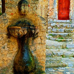 Water Fountain - Eze, France (L F Ramos-Reyes) Tags: door leica travel red france color green wet water yellow stone contrast weeds europe textures waterfountain eze colorphotoaward lionfrr theauthorsplaza