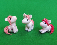 Pink Baby Unicorns (DragonsAndBeasties) Tags: pink sculpture cute statue silver rainbow magic tail small chibi fuschia polymerclay fimo fantasy gift tiny kawaii sculpey etsy custom figurine unicorn mane premo ittybitty