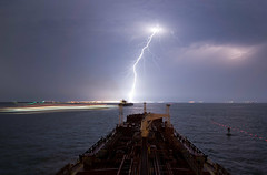 Lightning Strike in Texas City (OneEighteen) Tags: night port harbor marine ship houston maritime lightning nautical channel