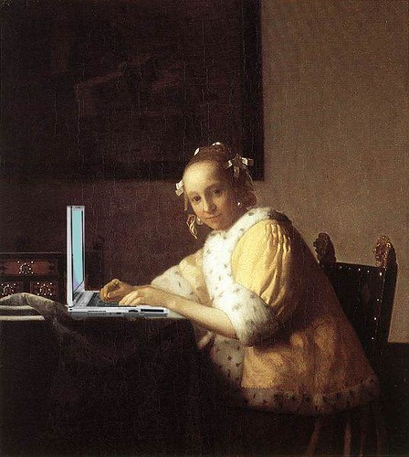 Portrait of a Lady Blogging, after Vermeer