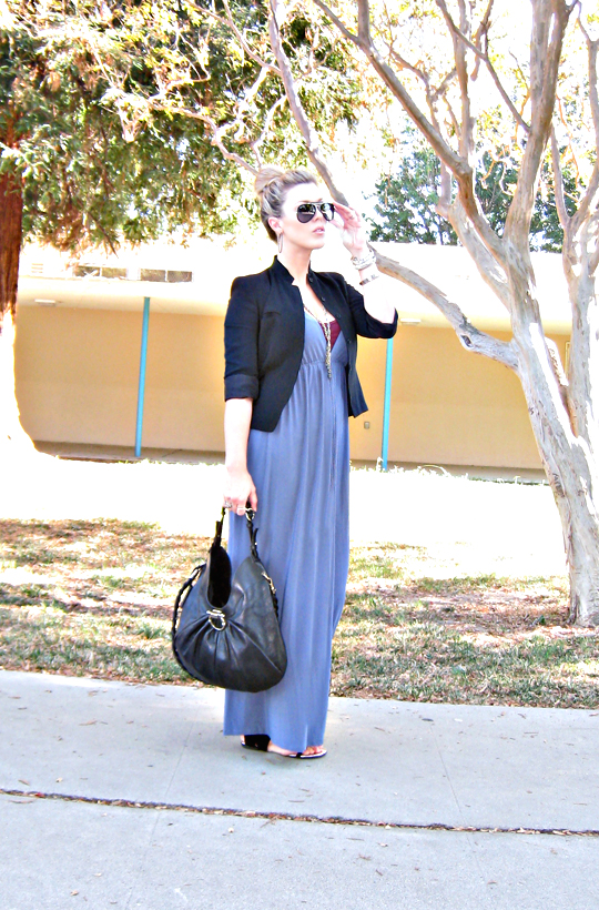 top knot+ferragamo bag+long dress and blazer+maxi+caftan+aviator sunglasses