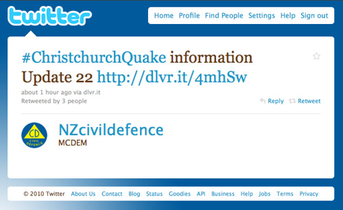 A typical #eqnz tweet by NZ Civil Defence