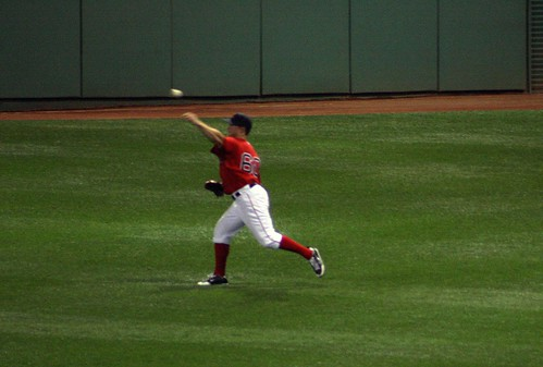 Nava throws back to the infield