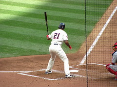 Delmon Young waiting in the batter's box (rburtzel) Tags: park red game home field minnesota los twins baseball angeles outdoor stadium young 21st minneapolis august gloves angels target anaheim batting mn 2010 mlb stance delmon 8212010