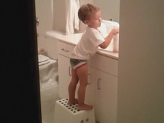 Lucas goes airborne while washing hands
