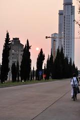 Volviendo a casa... (juannypg) Tags: sunset sol argentina atardecer arboles embarcadero rosario ciclista chico torres dolfinesguaraní avdelacosta parquelossunchales excerealera