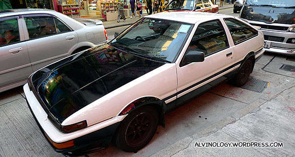 Spotted the AE86 car in the manga/anime, Initial D on the street