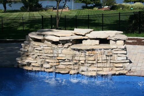 Fiberglass pool waterfall