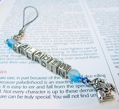 Paladin blue and silver keychain cell phone charm
