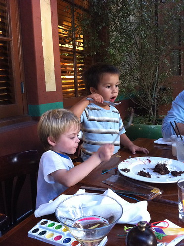Finn and Charlie tackle dessert