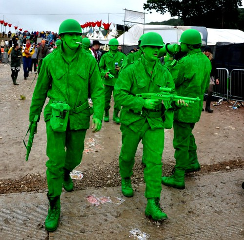 bright green army soldiers