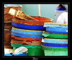 Kalymnos: Fisherman's buckets (juvani photo   digital art) Tags: blue red green lumix colorful hellas kos panasonic greece buckets griechenland kalymnos fz50 griekenland twitter dodekanesos flickrchallengewinner κάλυμνοσ challengefactorywinner thechallengefactory challengefactoryunanimouswinner juvani калимнос 36°59n26°58e kàlimnos كاليمنوس カリムノス島 juvaniphoto juvaniphotoontwitter wwwjuvaniphotonl 500pxcomjuvani