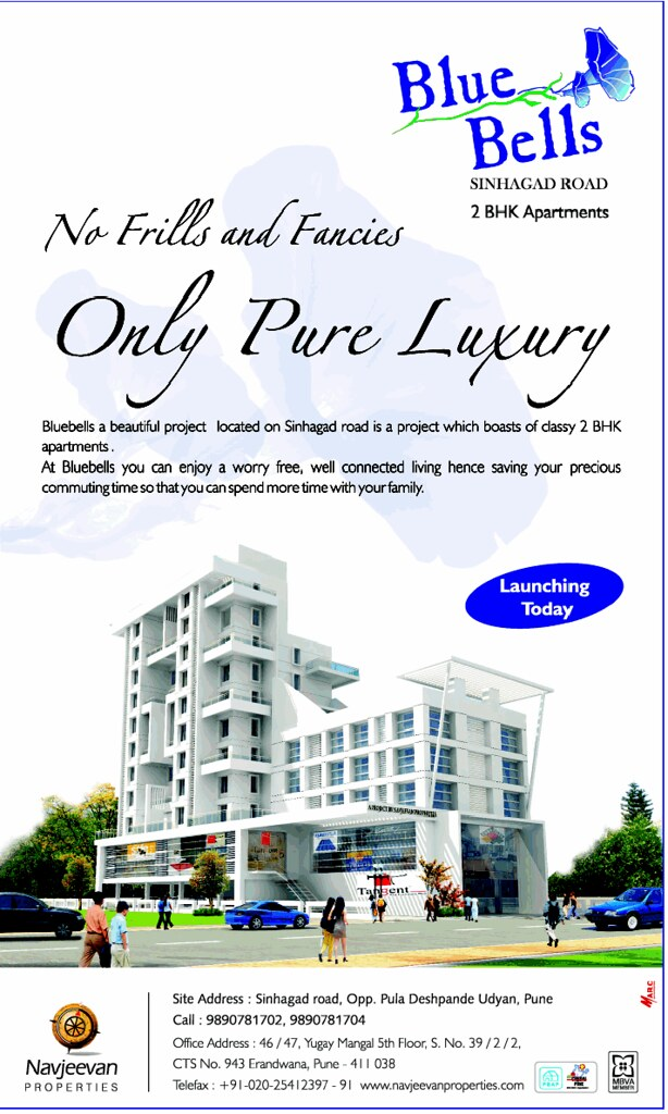 Blue Bells 2 BHK Flats opposite Pu La Deshpande Udyan on Sinhagad Road Pune